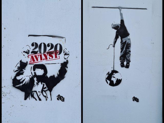 2020 avlyst og gutt med klode