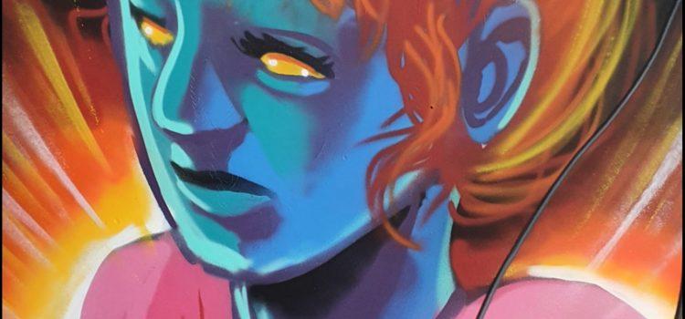 Blå jente med orange hår