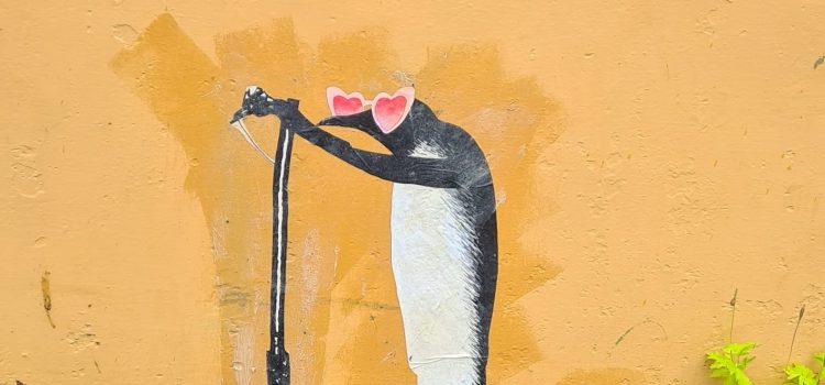 Pingvin på sparkesykkel